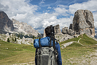 Italy, Man trekking in the Dolomtes - ZOCF00483