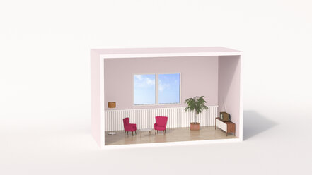 Model of a retro style living room - UWF01207