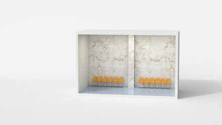 Model of a waiting room with row of chairs - UWF01213