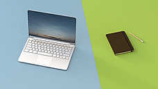 Laptop next to notebook, 3d rendering - UWF01223