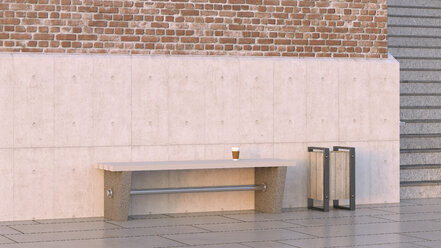 Takeaway coffee on bench next to waste bin, 3d rendering - UWF01229