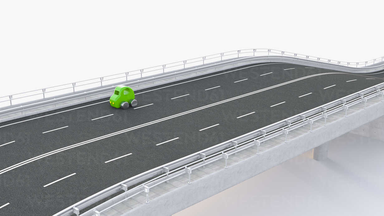 Green toy car on motorway, 3d rendering - UWF01232 - HuberStarke/Westend61
