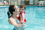 Mother kissing her baby girl in swimming pool - GEMF01677