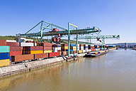 Germany, Stuttgart, Neckar, container harbor - WDF04034