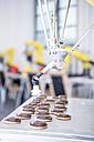 Close-up of industrial robot handling cookies - WESTF23449
