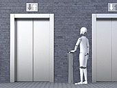 Robot standing in front of elevator - AHUF00365