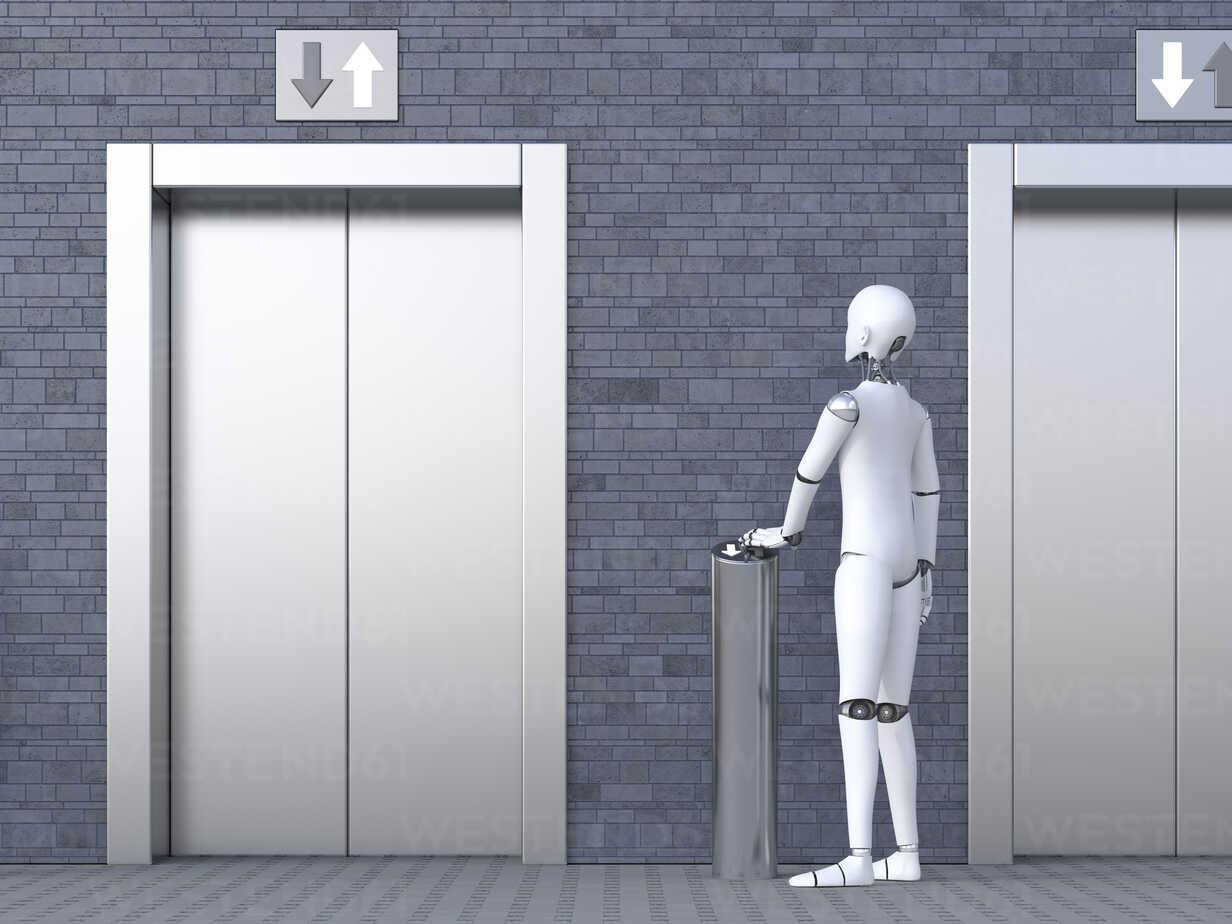 Robot standing in front of elevator – Stockphoto