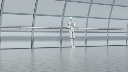 Robot standing in hall, using digital tablet - AHUF00368