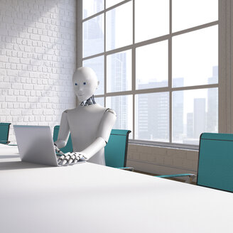 Robot sitting sitting at conference table, using laptop - AHUF00371