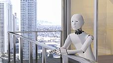 Robot standing standing on balcony - AHUF00374