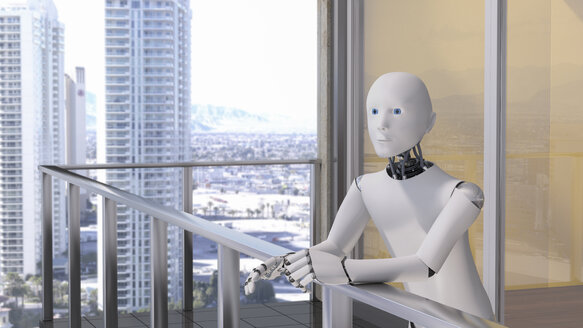 Robot standing standing on balcony - AHUF00374