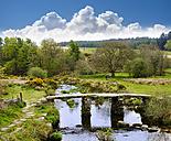 UK, Postbridge, Clapper Bridge over East Dart River at Dartmoor National Park - SIEF07433