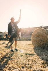 Man playing with dog in a harvested wheat field at sunset - GEMF01686