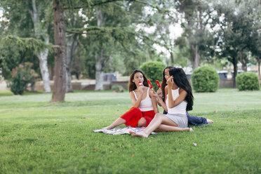 Friends in a park enjoying popsicles - JPF00221