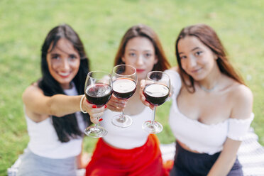 Friends in a park raising red wine glasses - JPF00224