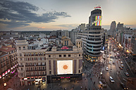 Spain, Madrid, cityscape with Callao square and Gran Via street at sunset - DHC00079