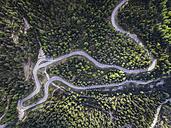 Italy, Alto Adige, Dolomites, Mountain street near Malga Ra Stua, aerial view - STCF00316