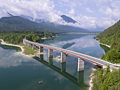Germany, Bavaria, Sylvenstein dam and bridge with the Alps in background - STCF00322