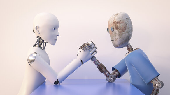Two robots arm wrestling, 3d rendering - AHUF00384