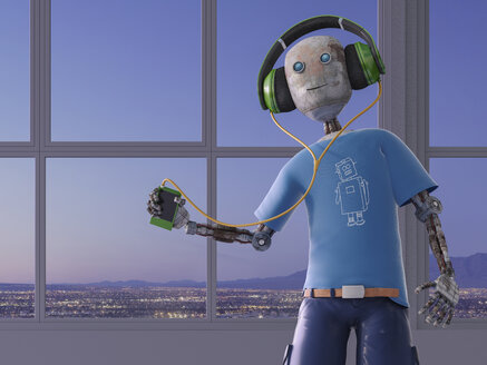 Robot listening to music with headphones, 3d rendering - AHUF00387