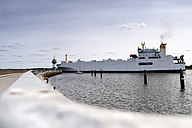 Germany, Travemuende, ferry at harbor entrance - FR00522
