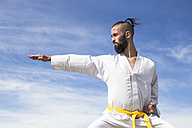 Man doing martial arts poses outdoors - ABZF02114