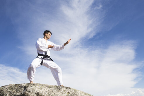 Man doing martial arts poses on a rock - ABZF02120