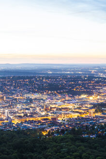 Germany, lighted city view of Stuttgart at twilight - WDF04042