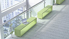 Modern waiting area with laptop on bench - UWF01245