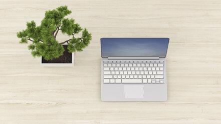 3D Rendering, Laptop on desk with bonsai tree - UWF01251