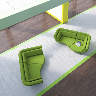 Modern waiting area with laptop on couch - UWF01257