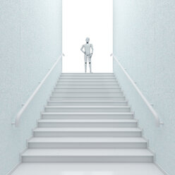 Robot standing on top of stairs, 3d rendering - AHUF00391