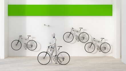 Robot renting a bike, 3d rendering - AHUF00394