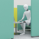 Robot using laptop in office cubicle, 3d rendering - AHUF00400