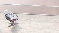 Robot sitting on office chair relaxing, 3d rendering - AHUF00403