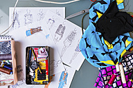 Equipment and sketches of fashion designer - MGIF00047