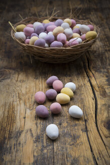 Easter nest of Chocolate Easter eggs on wood - LVF06196