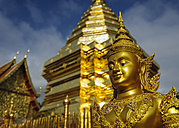 Thailand, Chiang Mai, temple Wat Phra That Doi Suthep, ornate golden statue and chedi - TOVF00087