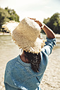 Back view of woman wearing straw hat - SUF00158