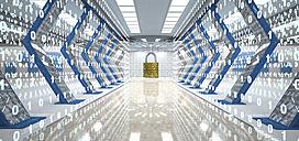 Futuristic digital room with padlock and binary code, 3d illustration - ALF00724