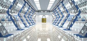 Futuristic digital room with padlock and binary code, 3d illustration - ALF00724