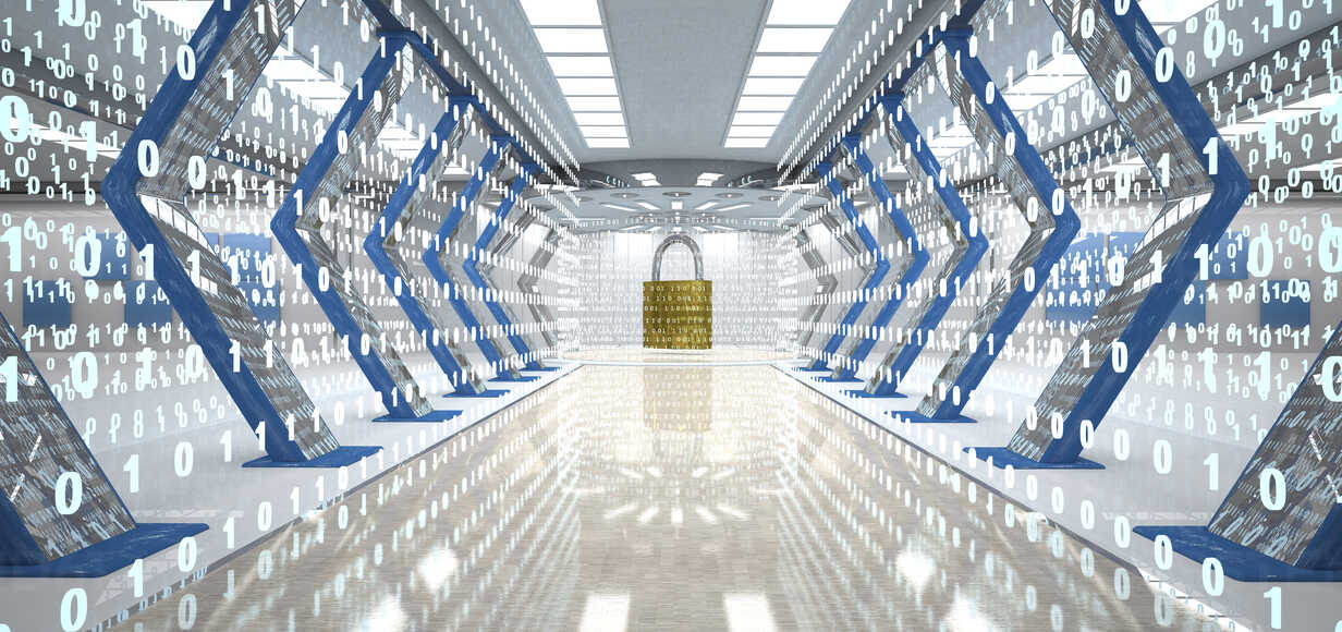 Futuristic digital room with padlock and binary code, 3d illustration - ALF00724 - Style-Photography/Westend61