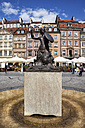 Poland, Warsaw, The Mermaid statue called Syrenka on Old Town Square - ABOF00219