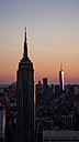 USA, New York City, Empire State building at sunset - MAUF01155