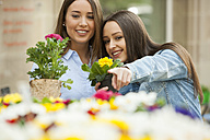 Girlfriends choosing potted plants at flower stall - CHAF01888