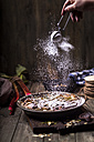 Frangipane tart with rhubarb getting sprinkled with icing sugar - SBDF03210