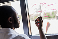 Businessman in office writing on windowpane - GIOF02935