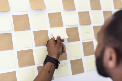 Hand taking adhesive note from wall in office - GIOF02944