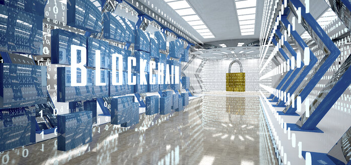 Digital room with padlock and word blockchain, 3d illustration - ALF00727