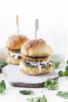 Vegetarian Burger with Halloumi Zucchini Carrot Patty, Tzatziki sauce, homemade bun - SBDF03216